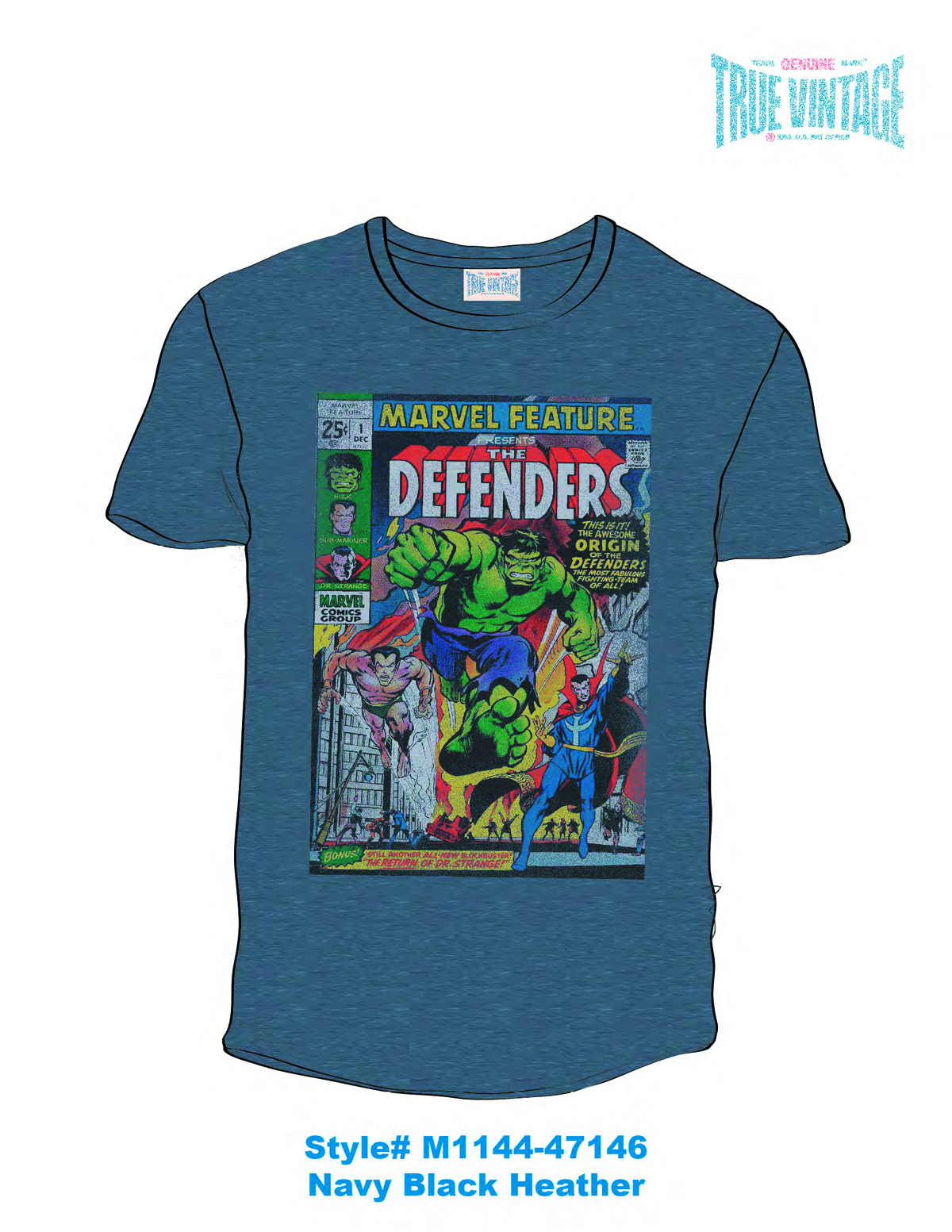 MARVEL DEFENDERS PX NAVY BLK T/S LG