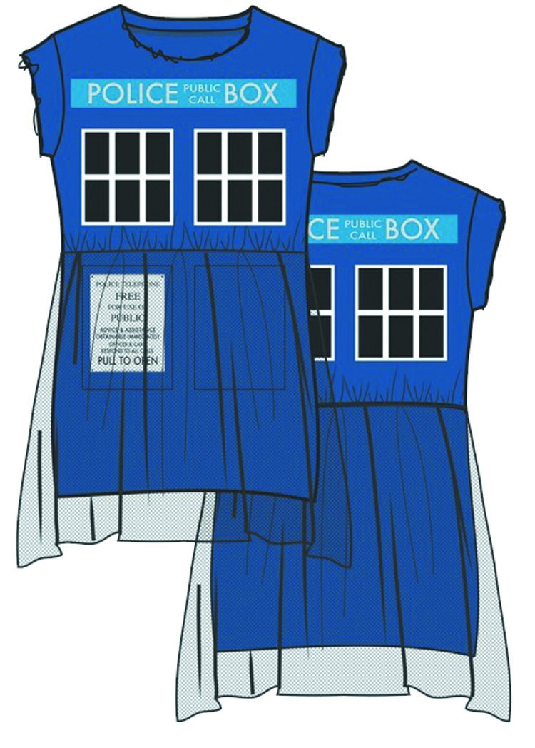 DOCTOR WHO TARDIS FIT & FLARE TULLE DRESS LG