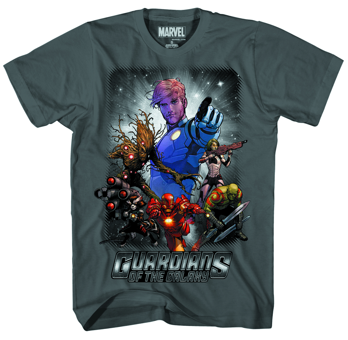 GOTG SPACE POLICE PX CHARCOAL T/S XL