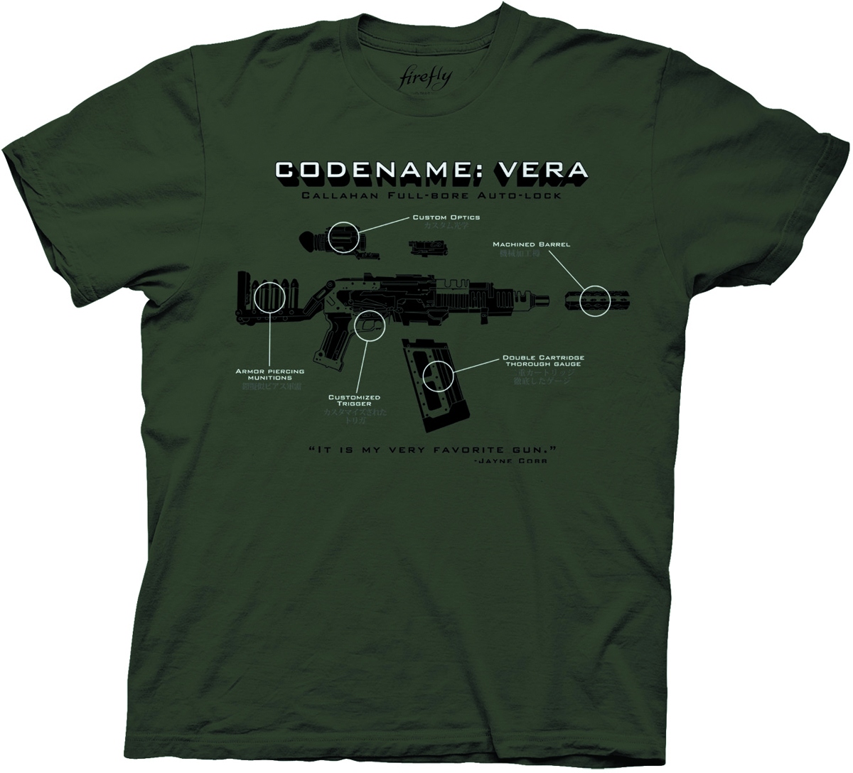 FIREFLY CODENAME VERA PX ARMY GREEN T/S MED