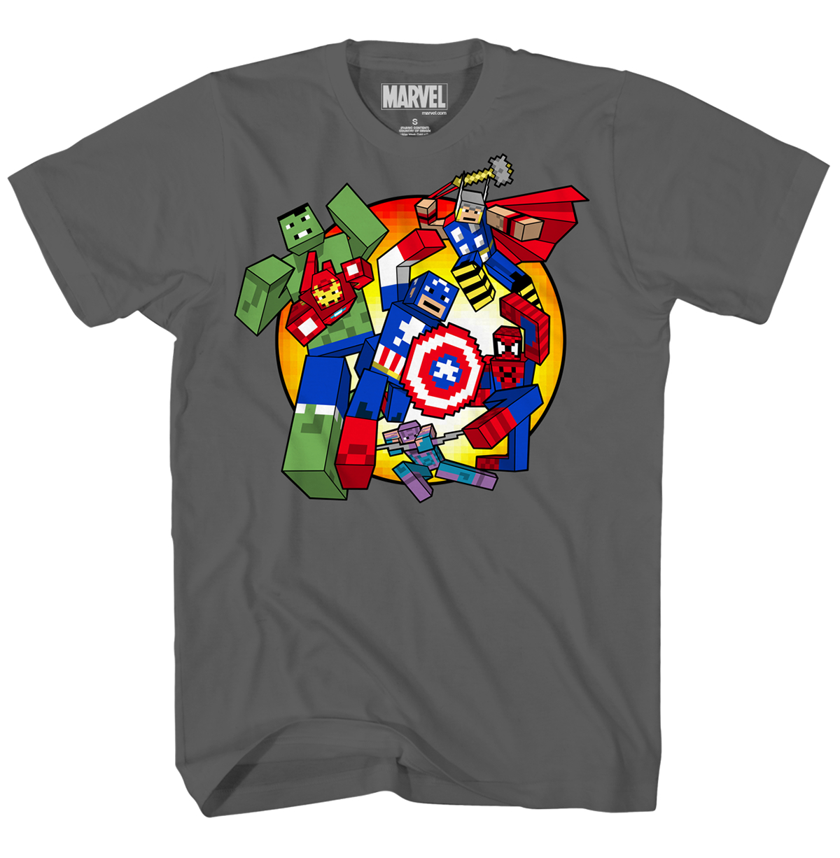 AVENGERS DIGI BATTLE CHARCOAL T/S XL