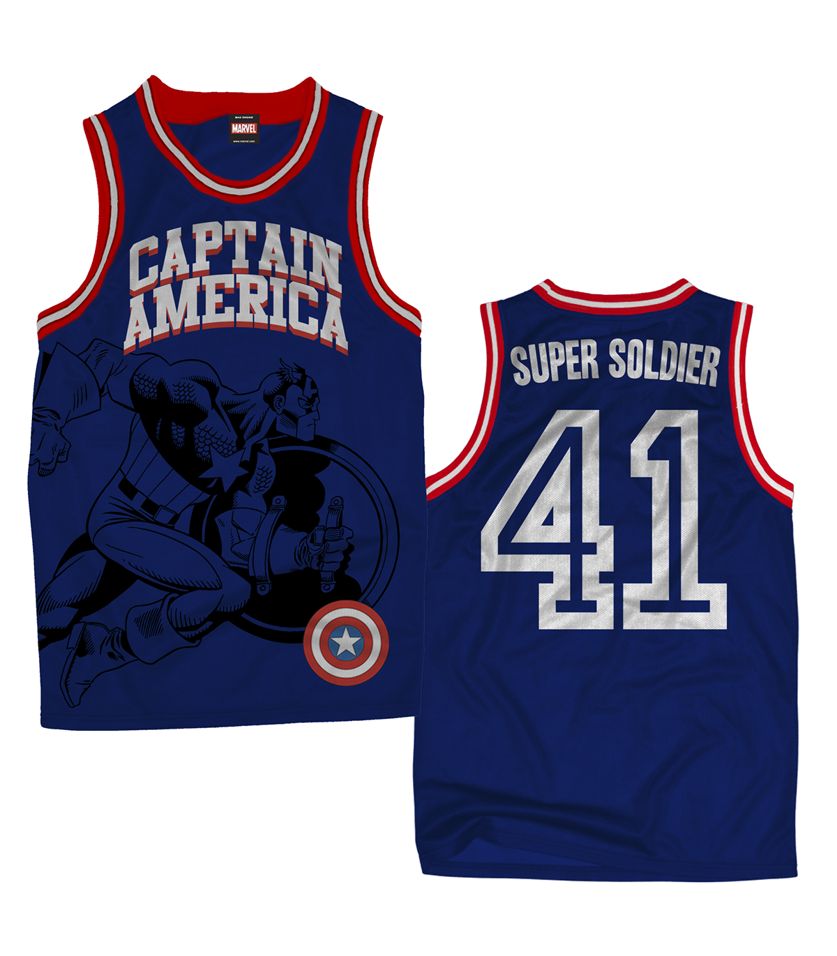 CAPTAIN AMERICA WE ARE #1 BASKETBALL JERSEY MED