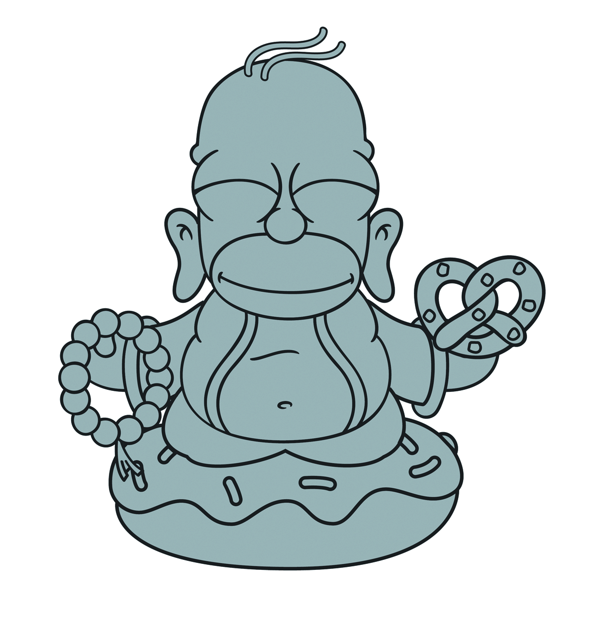 SIMPSONS SILVER BUDDHA HOMER VINYL FIG