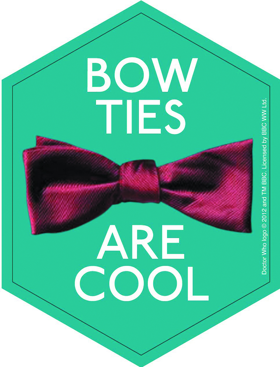 DOCTOR WHO BOW TIES ARE COOL 4IN STICKER