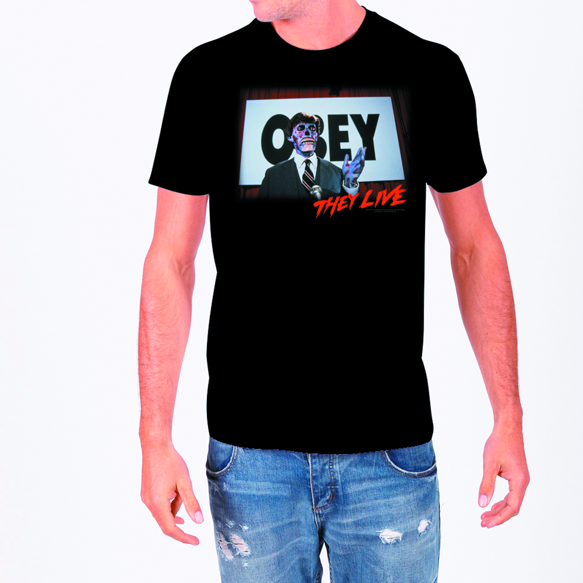 THEY LIVE OBEY BLK T/S MED