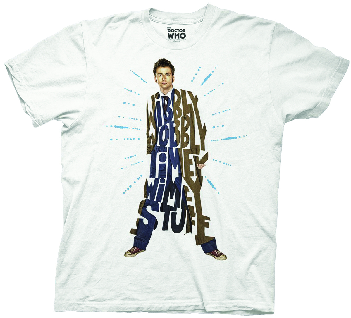 DOCTOR WHO STACKED TENTH DOCTOR WHT T/S LG
