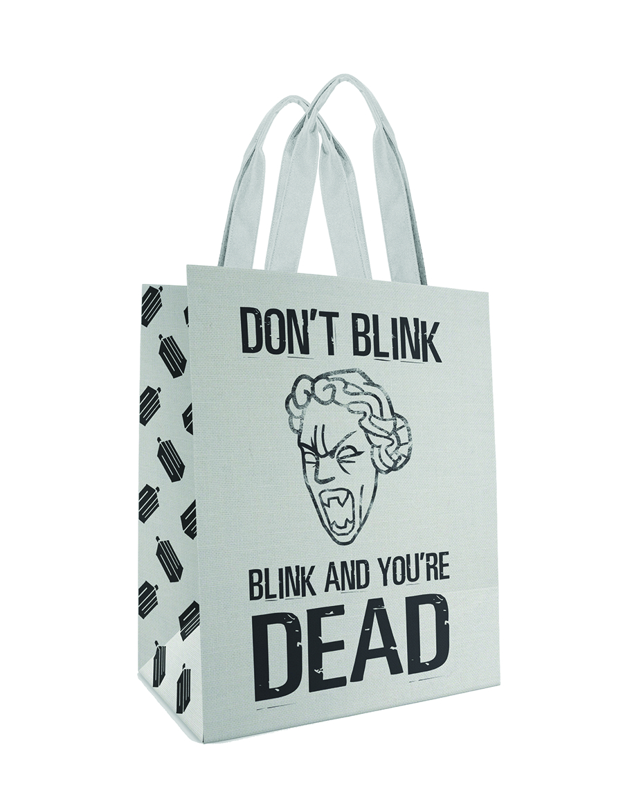 DOCTOR WHO DONT BLINK WHITE LG TOTE BAG