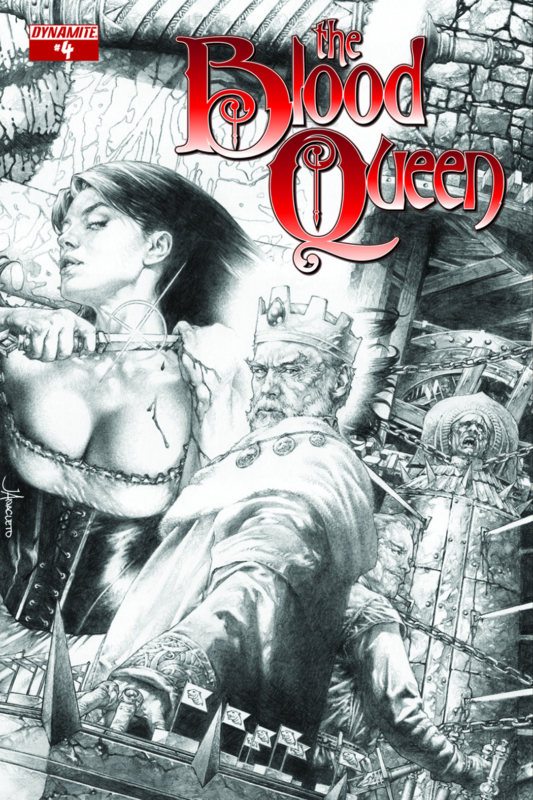 BLOOD QUEEN #4 25 COPY ANACLETO B&W INCV
