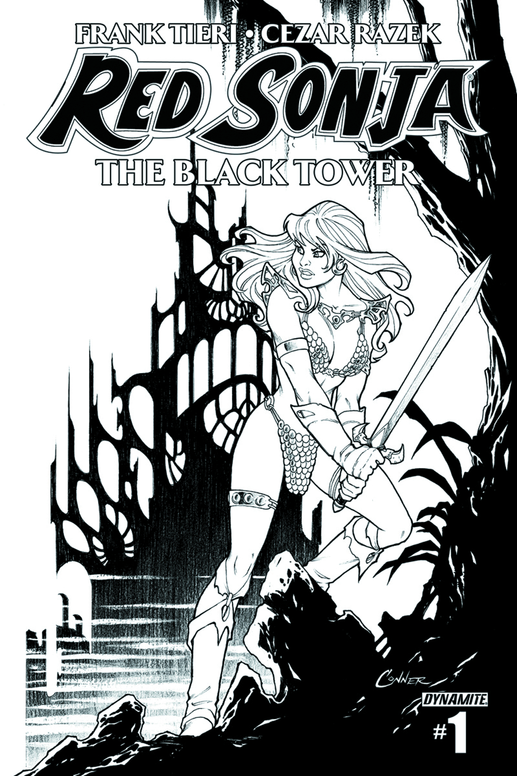 RED SONJA BLACK TOWER #1 (OF 4) 10 COPY CONNER B&W INCV