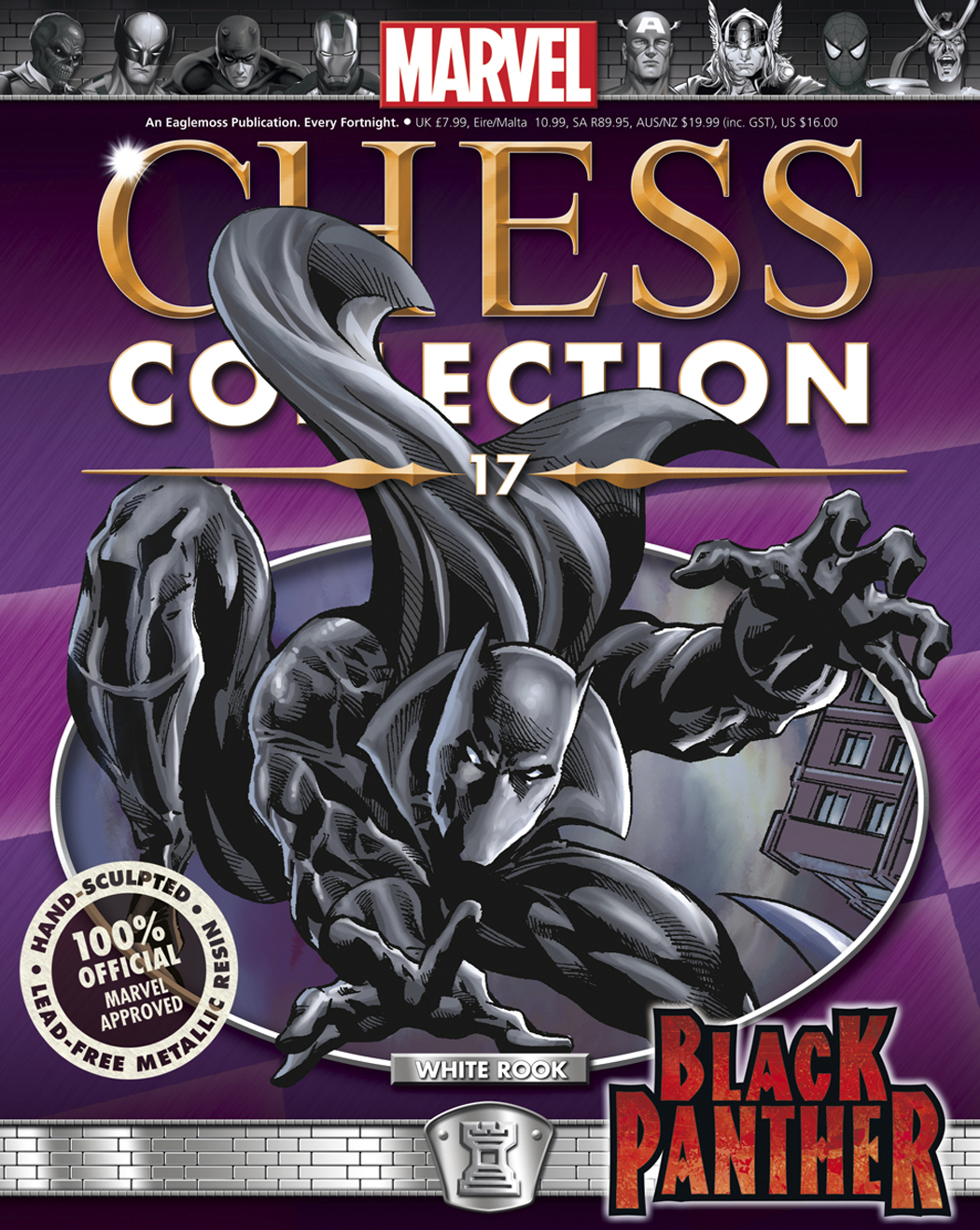 MARVEL CHESS FIG COLL MAG #17 BLACK PANTHER WHITE ROOK