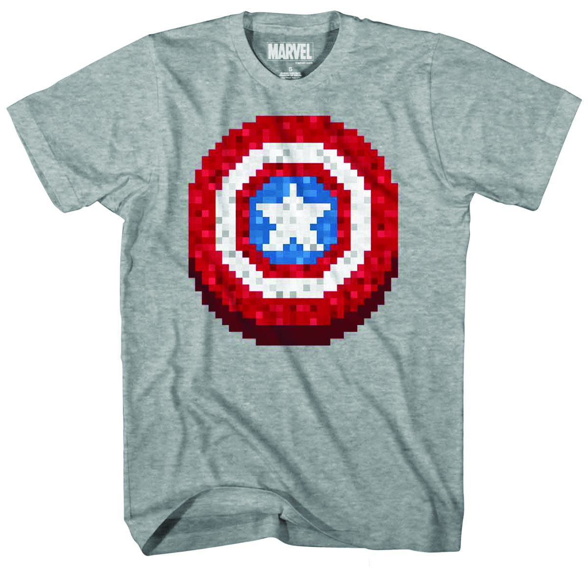 CAPTAIN AMERICA PIXEL SHIELD PX HEATHER T/S MED