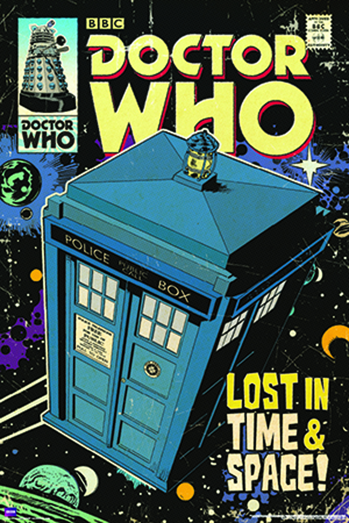 DOCTOR WHO TARDIS COMIC ART SLIM PRINT ROLLED POSTER