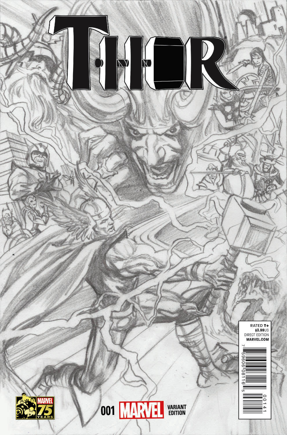 THOR #1 ROSS 75TH ANNIV SKETCH VAR
