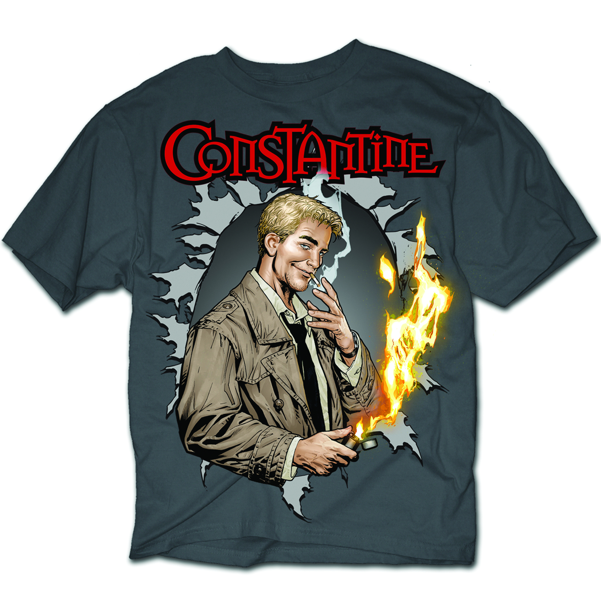 DC HEROES JOHN CONSTANTINE PX CHARCOAL T/S LG