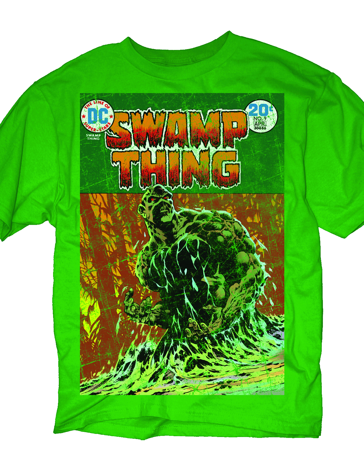 DC HEROES SWAMP THING COVER PX GREEN T/S LG
