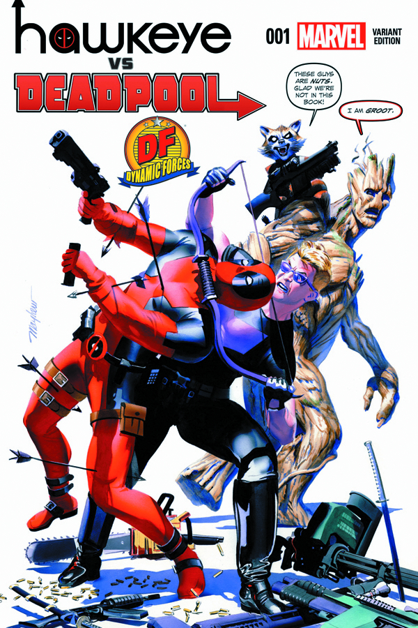 DF HAWKEYE VS DEADPOOL #1 DF EXC BLOOD MAYHEW SGN