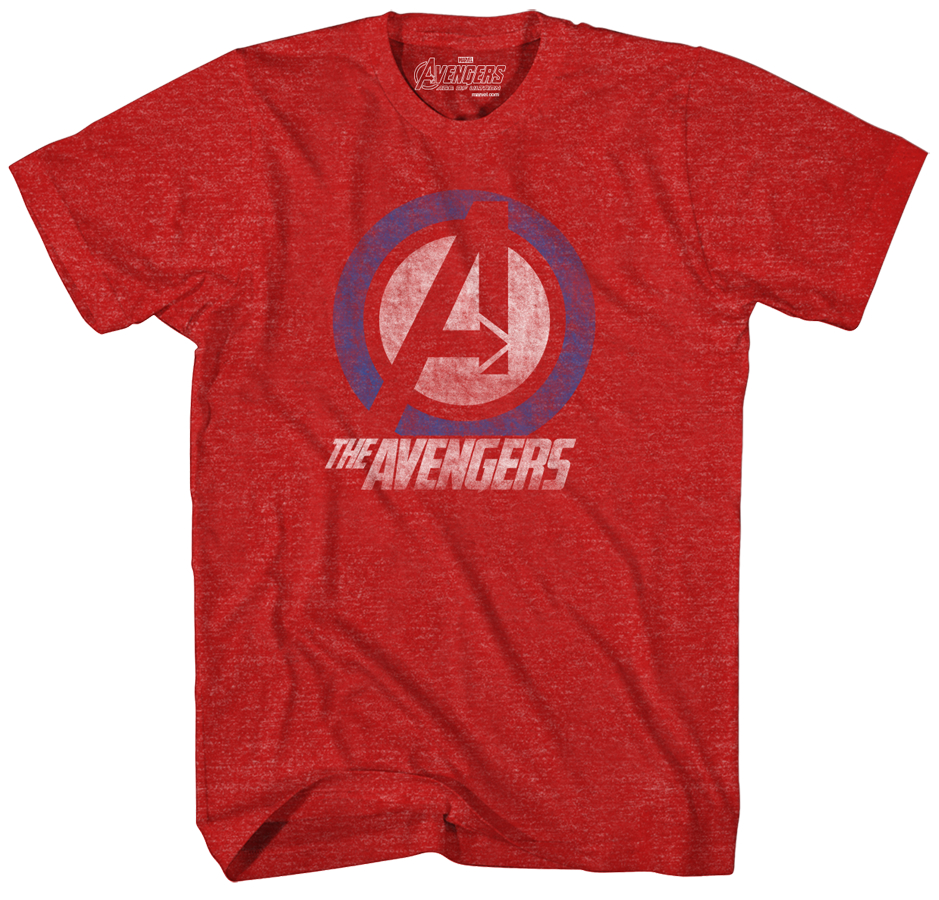 AVENGERS AVENGELINE RED HEATHER T/S LG