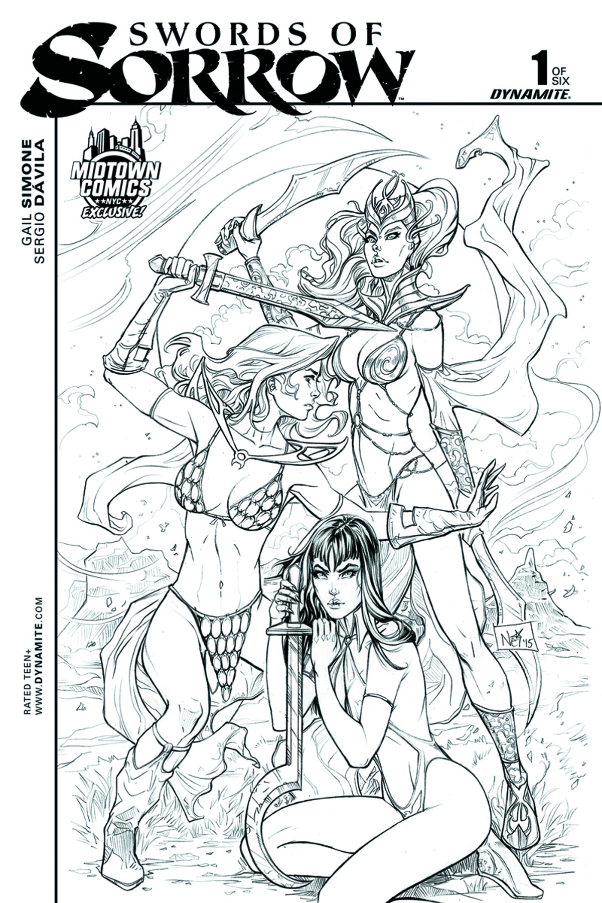 DF SWORDS OF SORROW #1 MIDTOWN EXC B&W RUFFINO