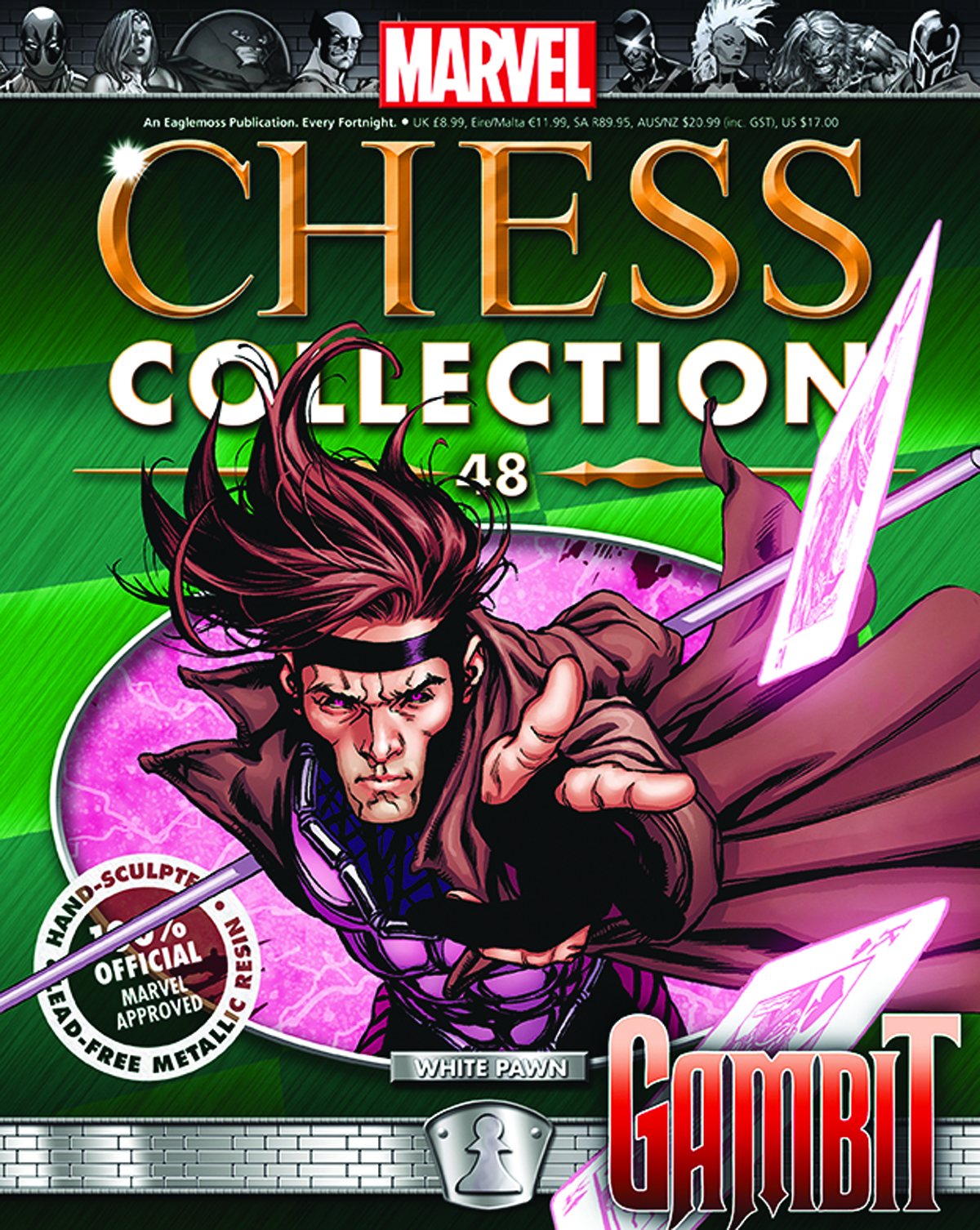 MARVEL CHESS FIG COLL MAG #48 GAMBIT WHITE PAWN