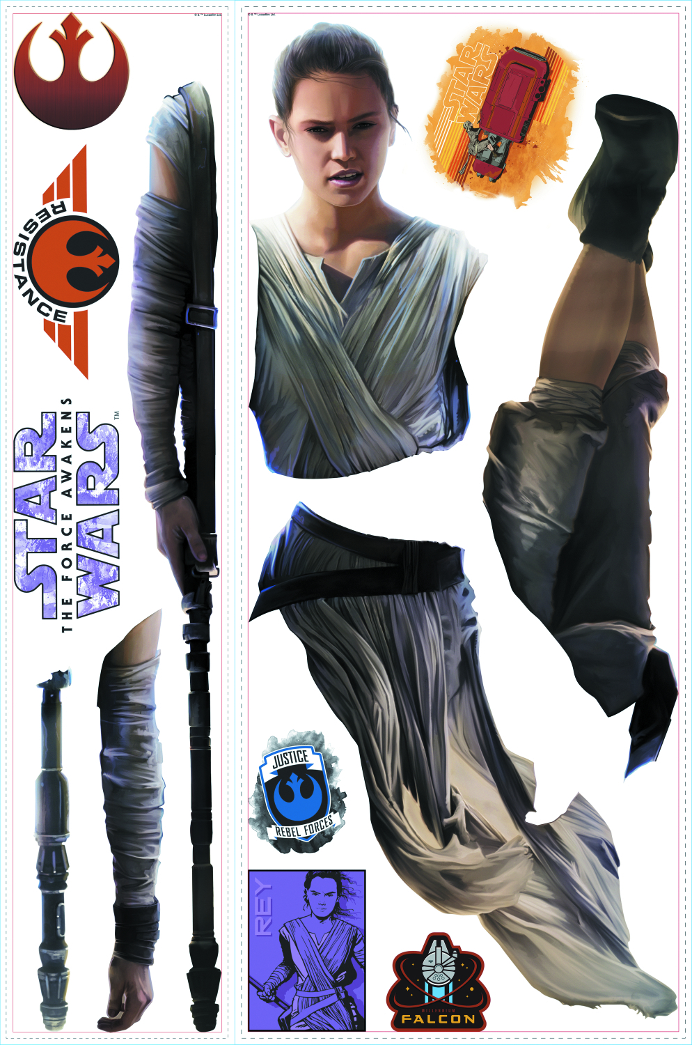 STAR WARS FORCE AWAKENS REY GIANT WALL DECAL