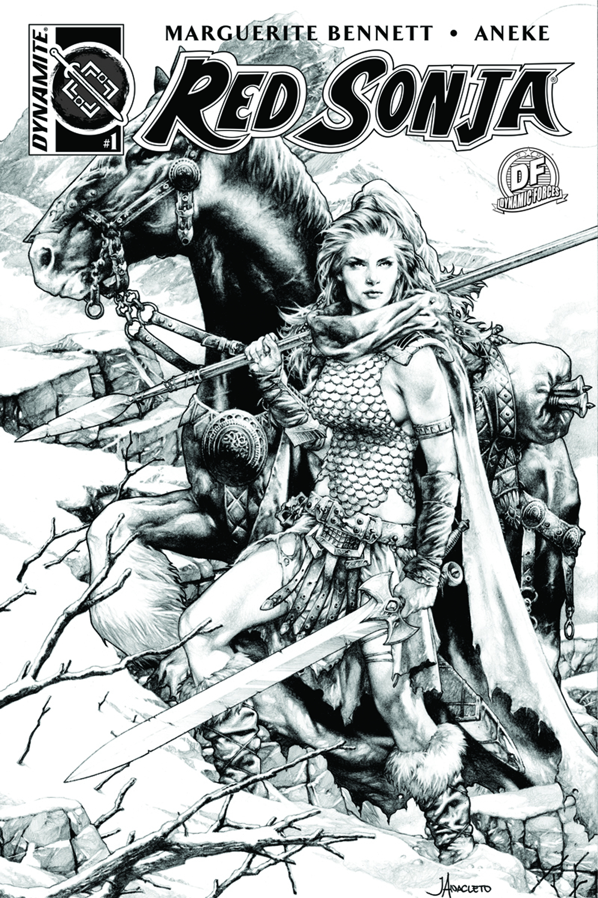 DF RED SONJA VOL 3 #1 DF EXC B&W LINE ART ANACLETO
