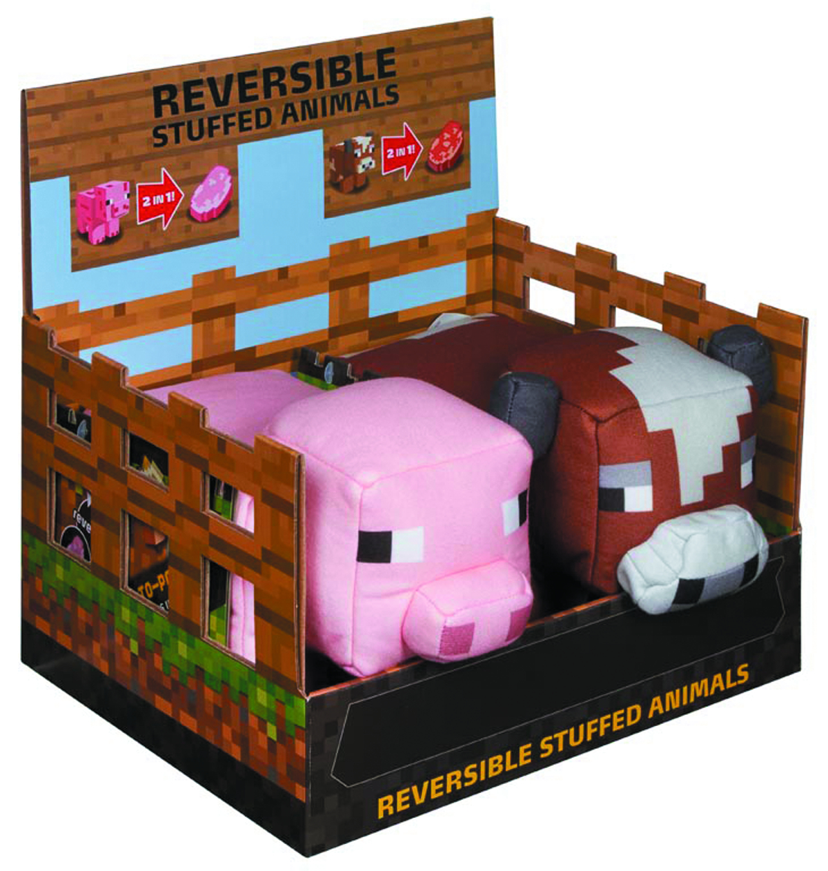 MINECRAFT REVERSIBLE ANIMAL PLUSH ASST
