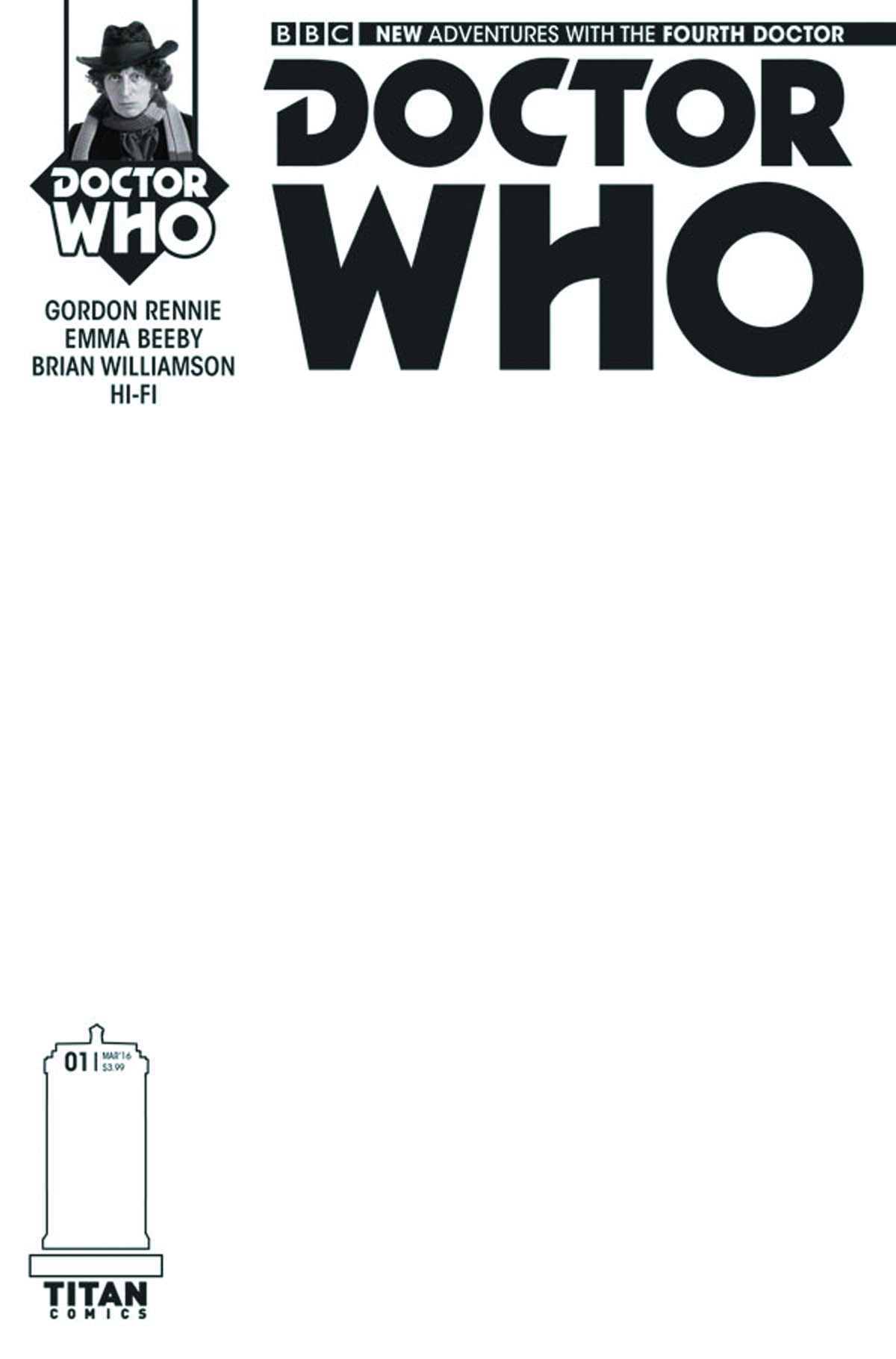 DOCTOR WHO 4TH #1 (OF 5) CVR D BLANK SKETCH