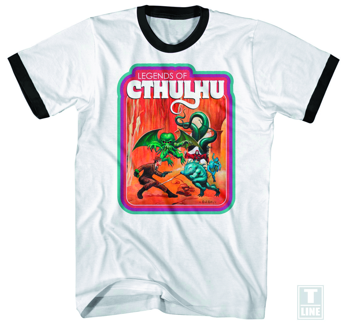 LEGENDS OF CTHULHU BATTLE WHT RINGER T/S XL