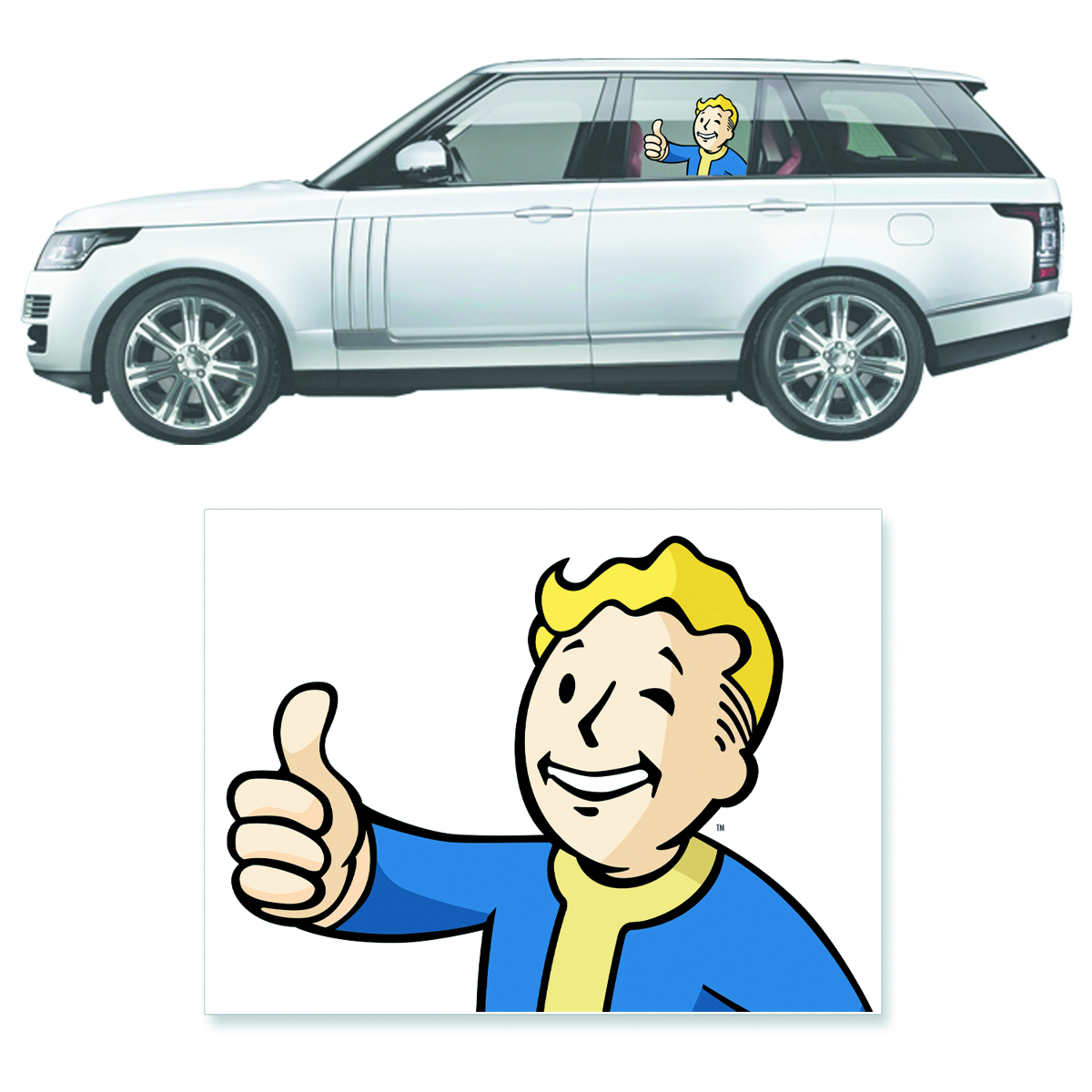 FALLOUT 4 THUMBS UP VAULT BOY PASSENGER DRIVERS SIDE DECAL
