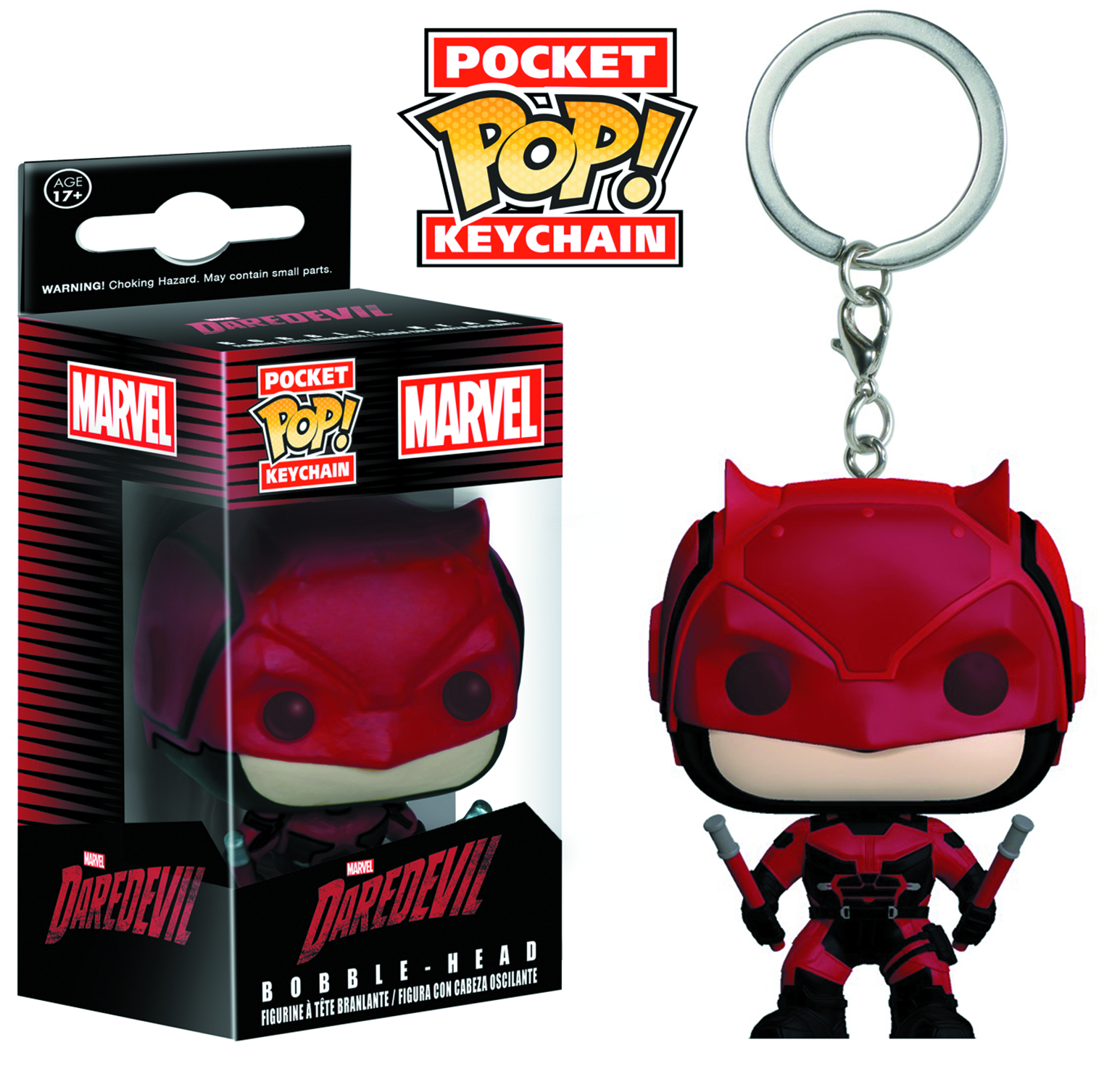 POCKET POP DAREDEVIL TV DAREDEVIL RED SUIT VIN FIG KEYCHAIN
