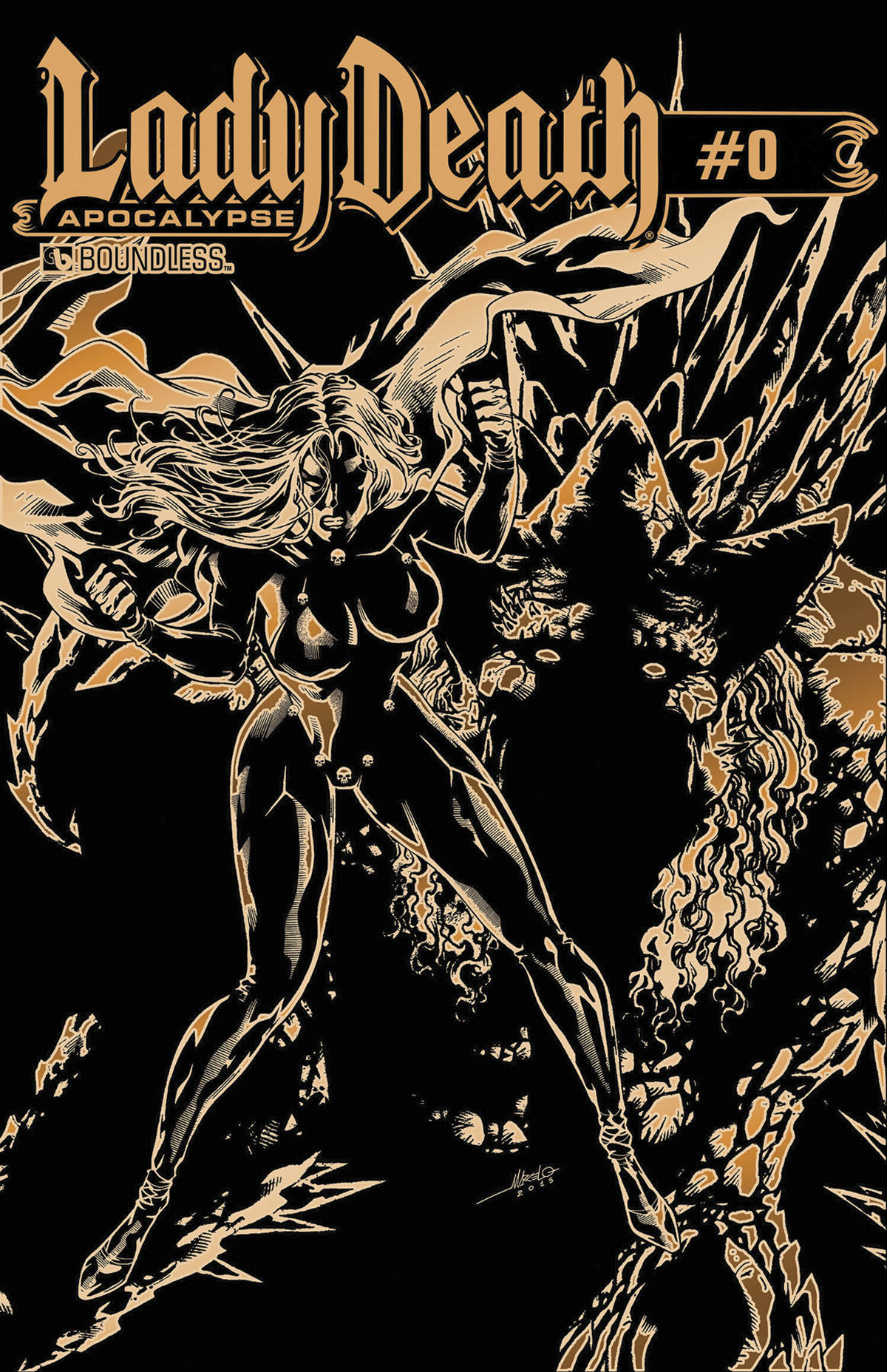 LADY DEATH APOCALYPSE #0 KICKSTARTER GOLD LEATHER CVR