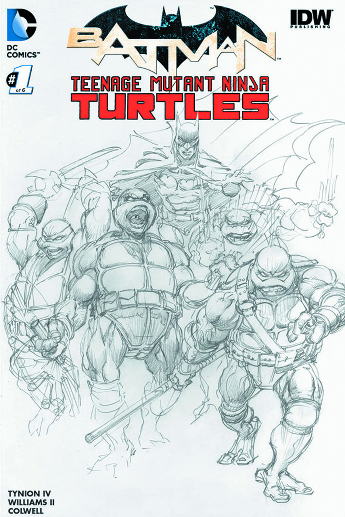 DF BATMAN TMNT #1 DF EXC B&W ADAMS PLUS 3