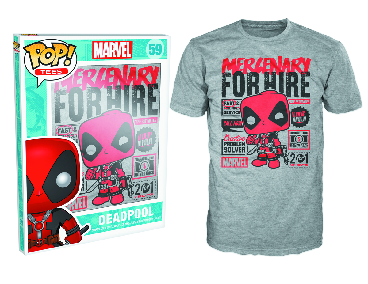 POP TEES MARVEL DEADPOOL FOR HIRE T/S SM