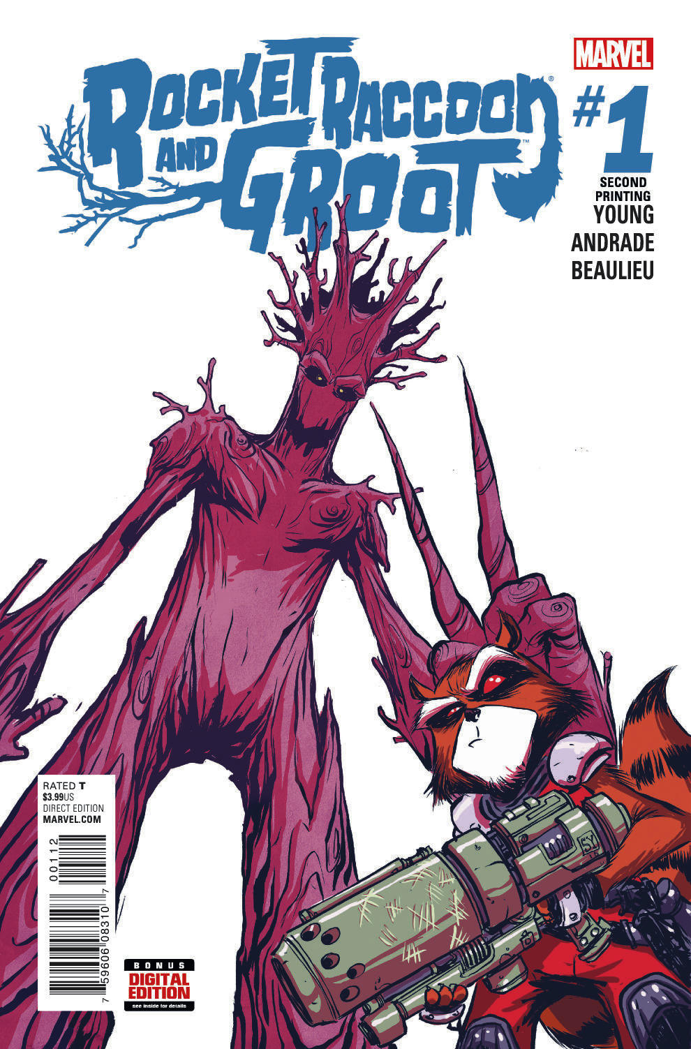 ROCKET RACCOON AND GROOT #1 YOUNG 2ND PTG VAR