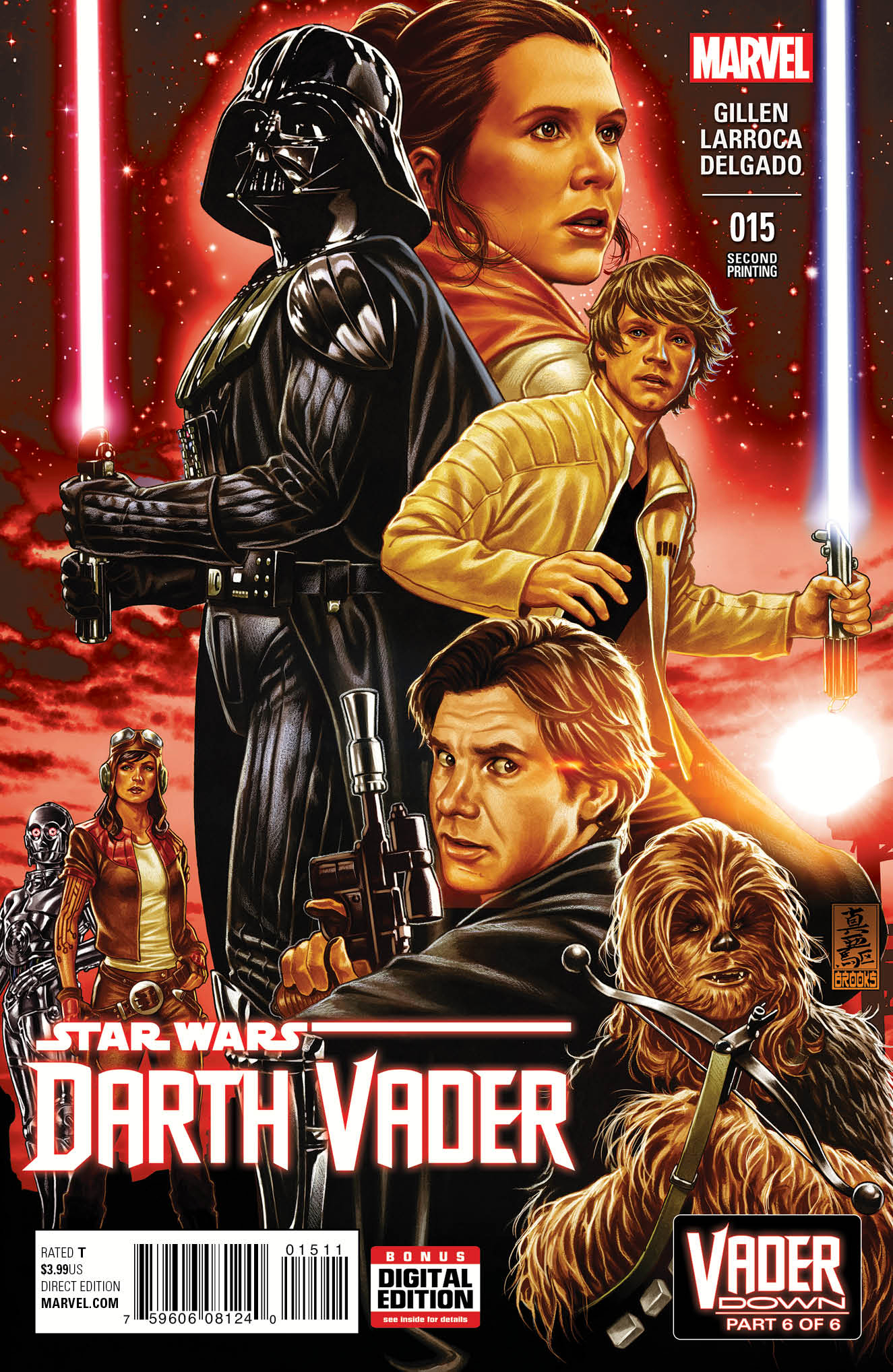 DARTH VADER #15 BROOKS 2ND PTG VAR VDWN