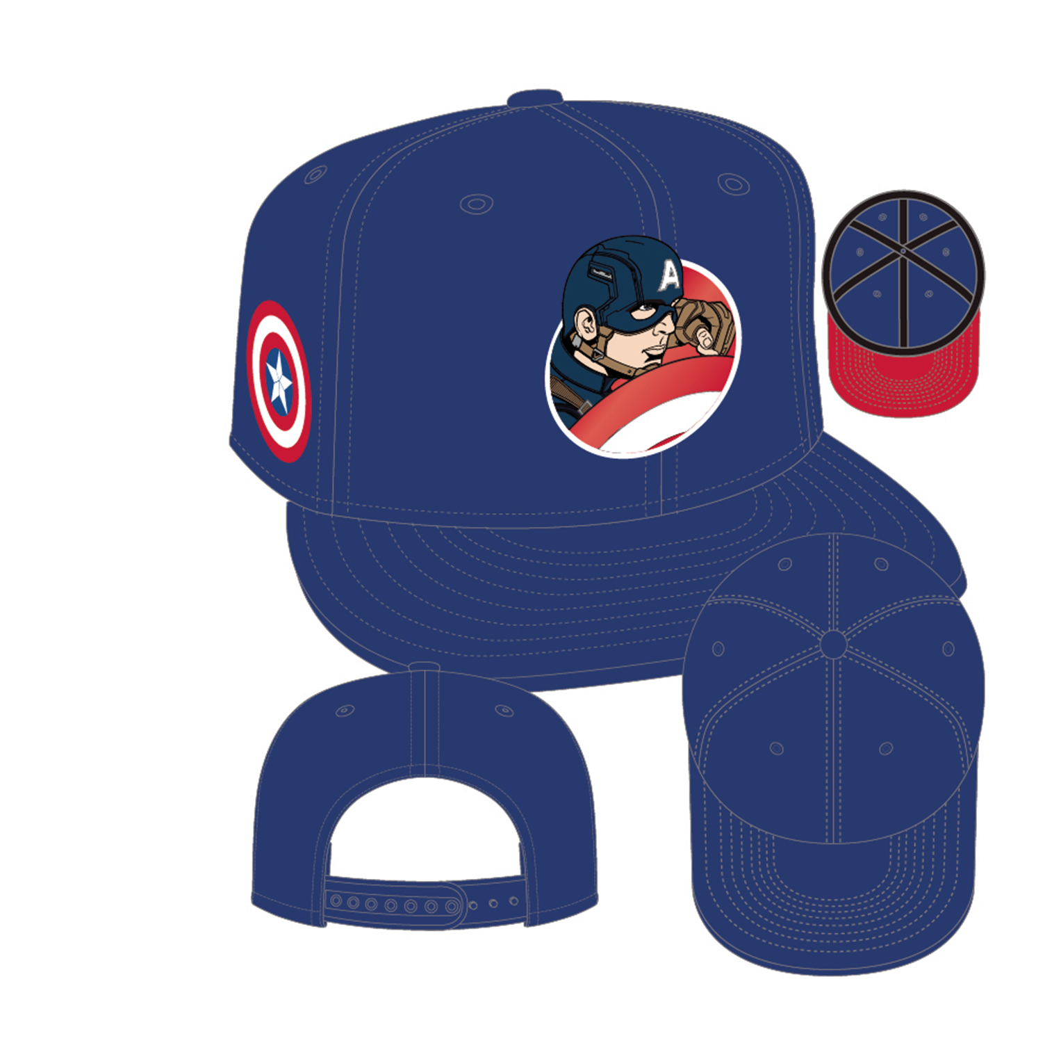 CAPTAIN AMERICA 3 CAPT AMERICA RETROFLECT 950 SNAP BACK CAP