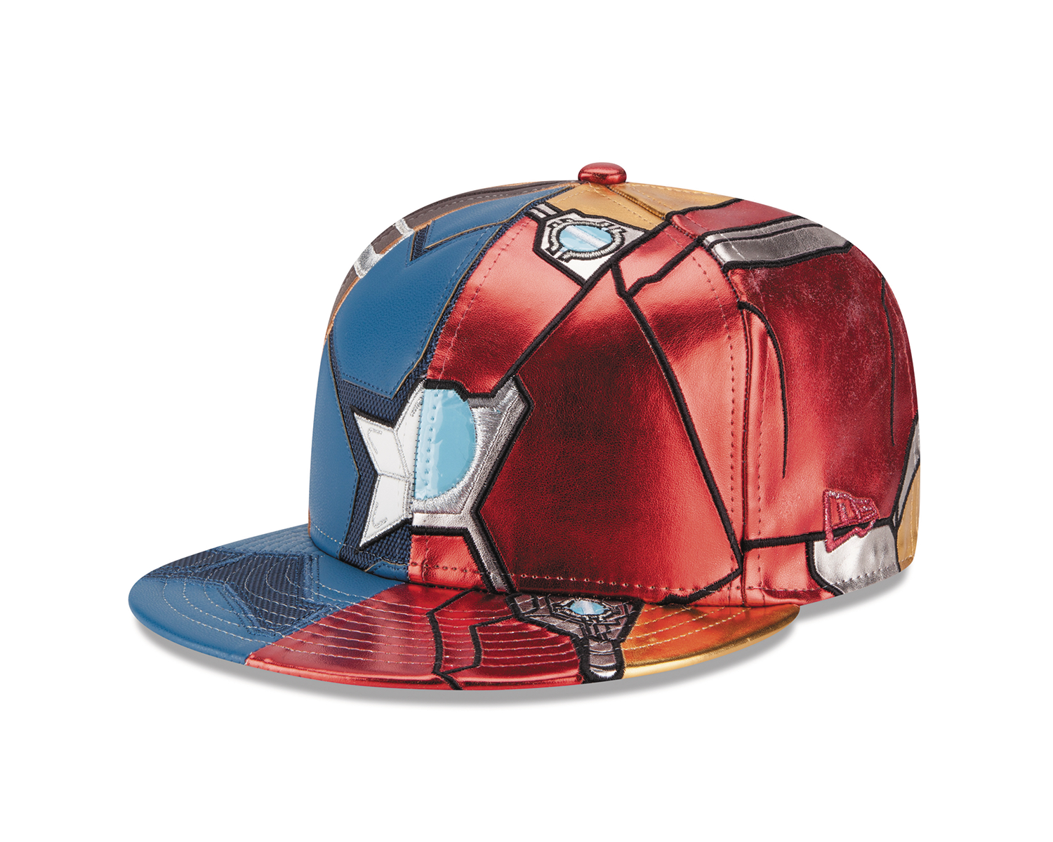 CAPTAIN AMERICA 3 CHARACTER ARMOR SPLIT FITTED CAP SZ 7 1/8