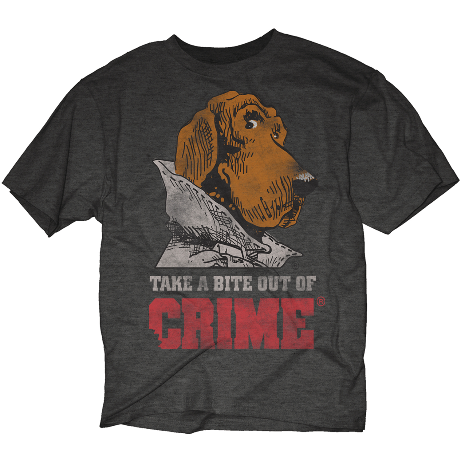 MCGRUFF TAKE A BITE OUT OF CRIME DISTR GRAY T/S MED