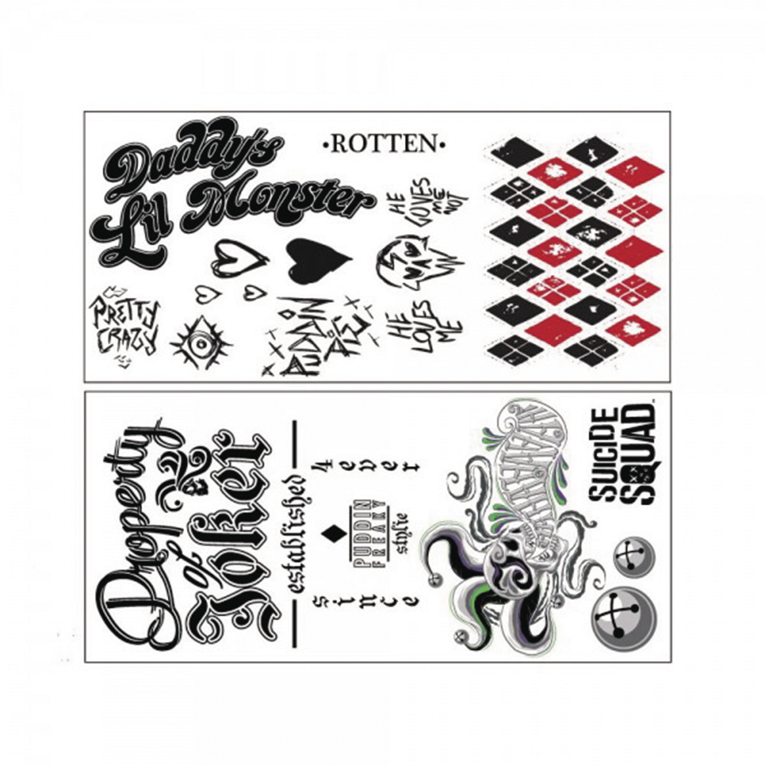 May168061 suicide squad cosplay tattoo pack previews world for Joker damaged tattoo