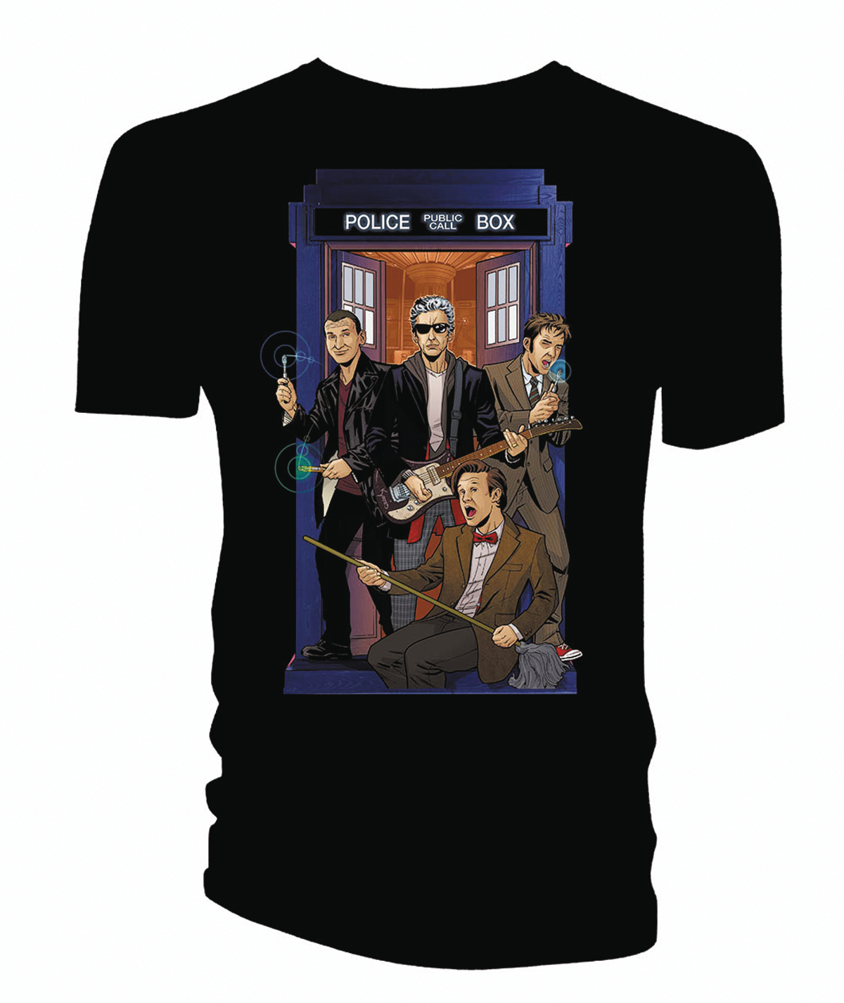 DOCTOR WHO 4 DOCTORS BAND PX BLACK T/S LG