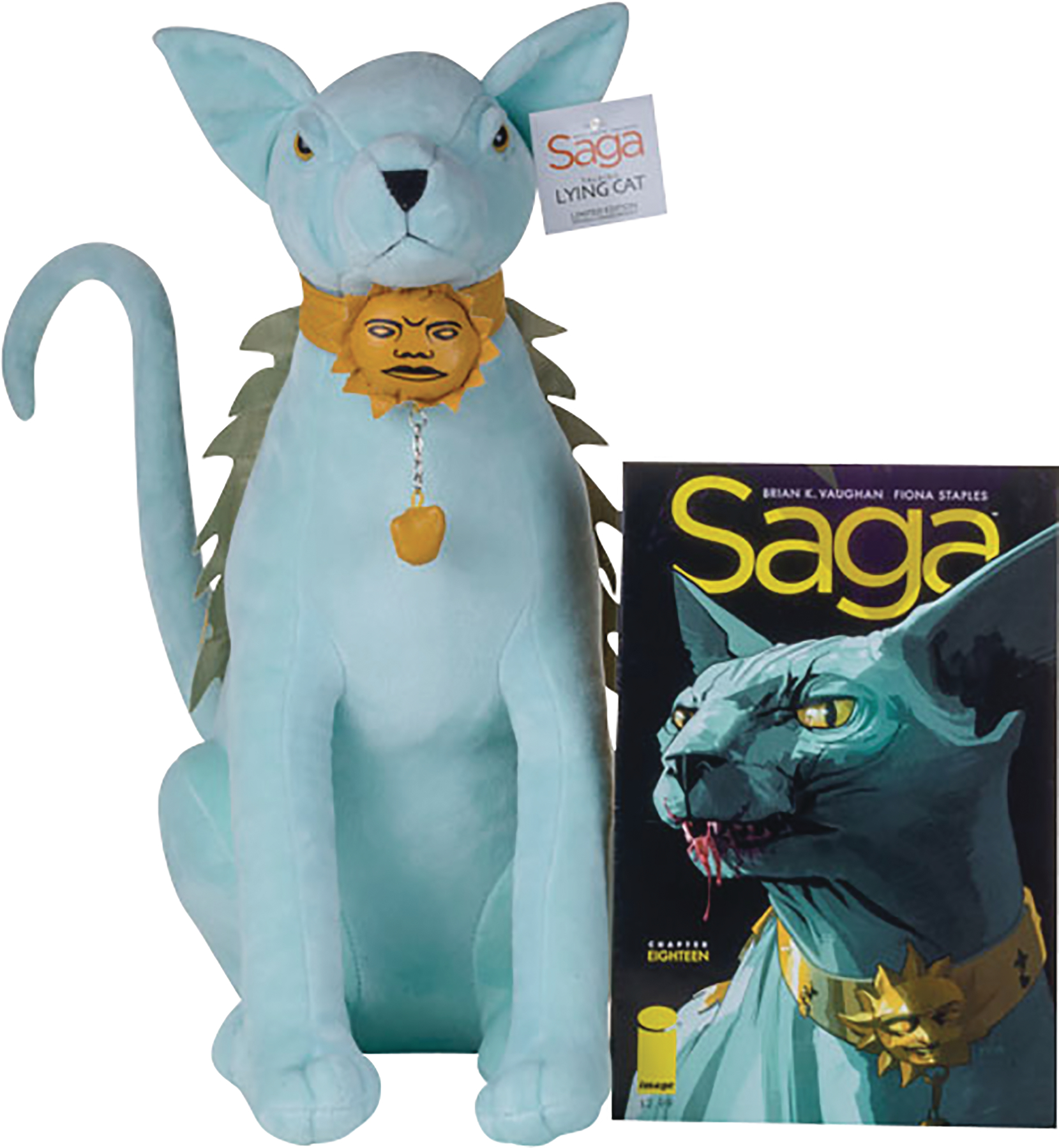 SAGA LYING CAT TALKING PLUSH DOLL ESSENTIAL SEQUENTIAL LLC By Esential Sequential. Inspired by the best-selling, award-winning Image Comics series Saga from Brian K. Vaughan and Fiona Staples, this Lying Cat figure is sculped as a 19-inch tall plush with a poseable tail. Press her collar and Lying Cat will call you out! $79.99