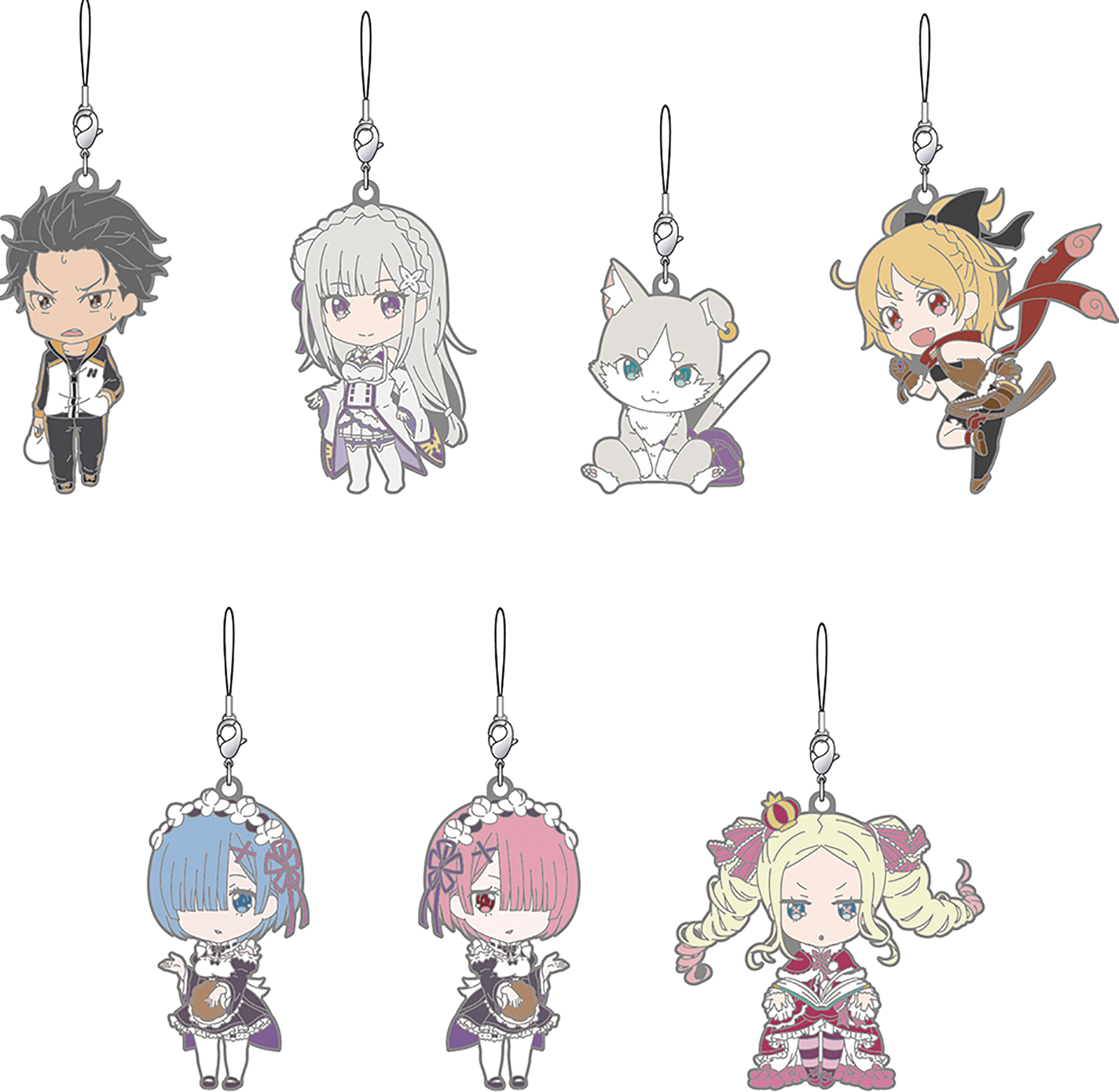 RE ZERO RUBBER TRADING STRAPS 7PC DIS STARTING LIFE VER