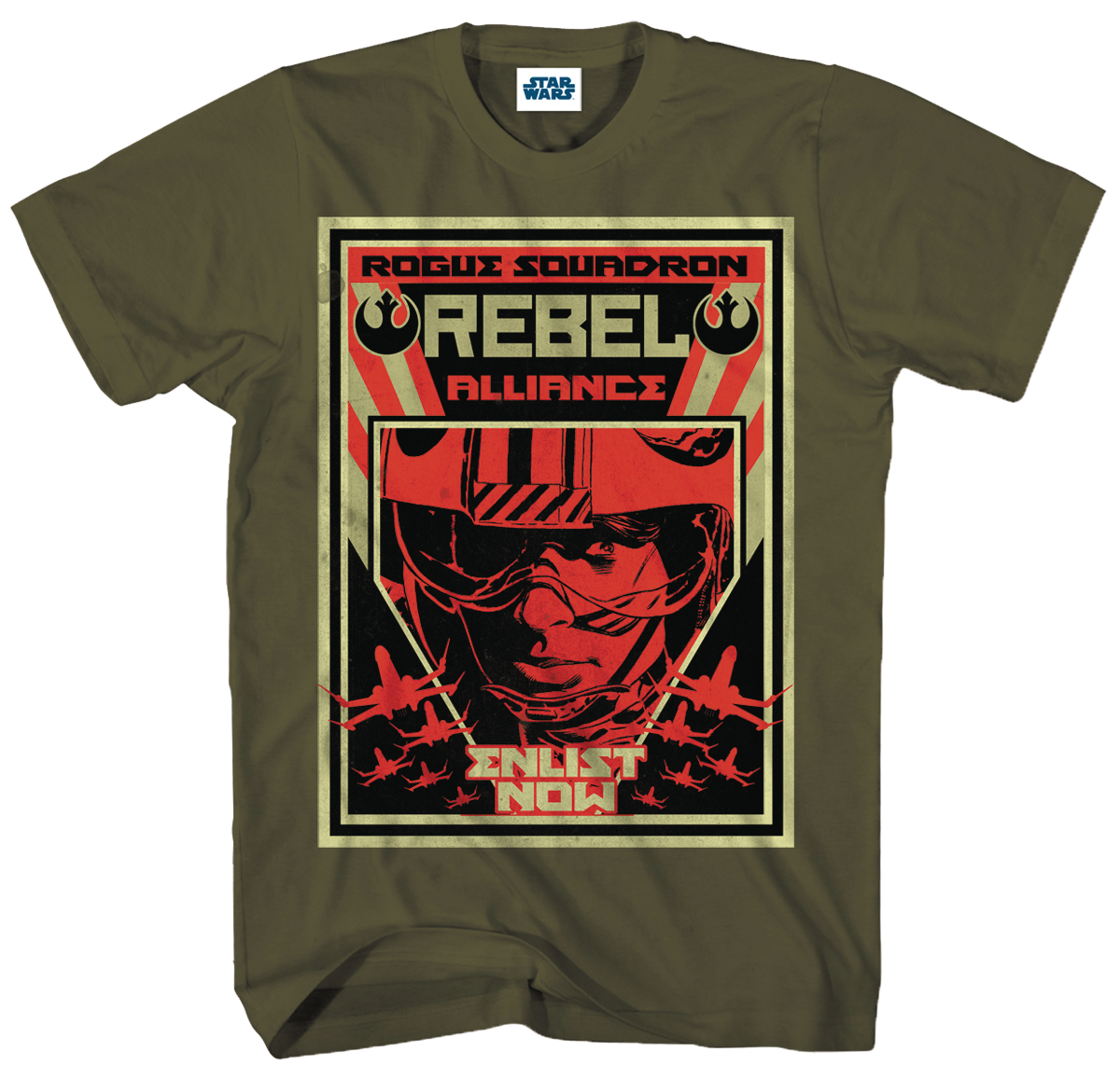 SW R1 ROGUE SQUADRON MILITARY GREEN T/S SM