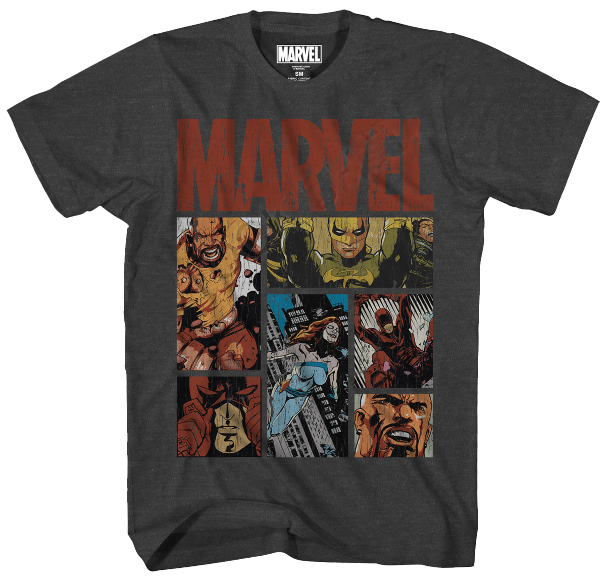 MARVEL HOOD KNIGHTS CHARCOAL HEATHER T/S LG