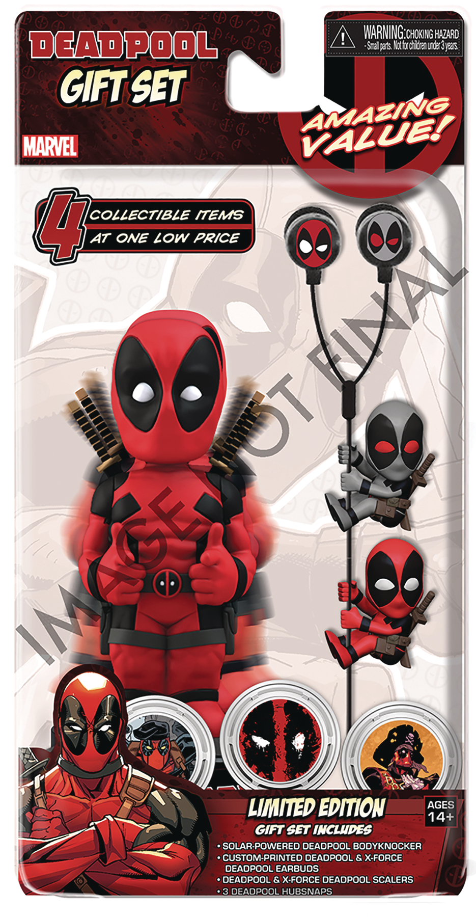 MARVEL HEROES DEADPOOL LIMITED EDITION GIFT SET NECA From NECA. Show off your favorite Marvel character with this limited edition gift set, which includes four collectible items based on Deadpool an amazing value for fans of all ages! Set includes: Solar-Powered Deadpool Body Knocker standing roughly 8