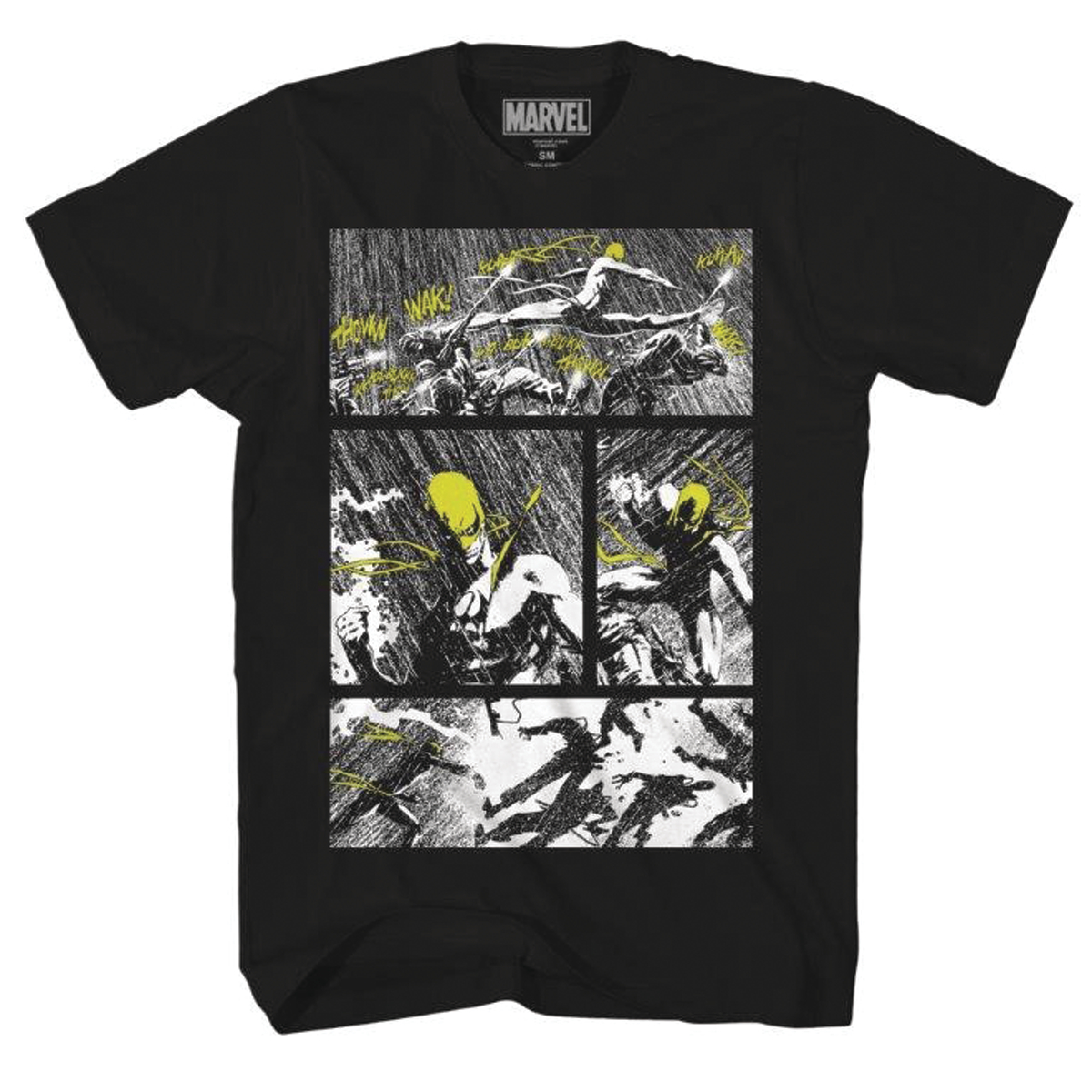 IRON FIST YELLOW FIGHTER PX BLACK T/S LG