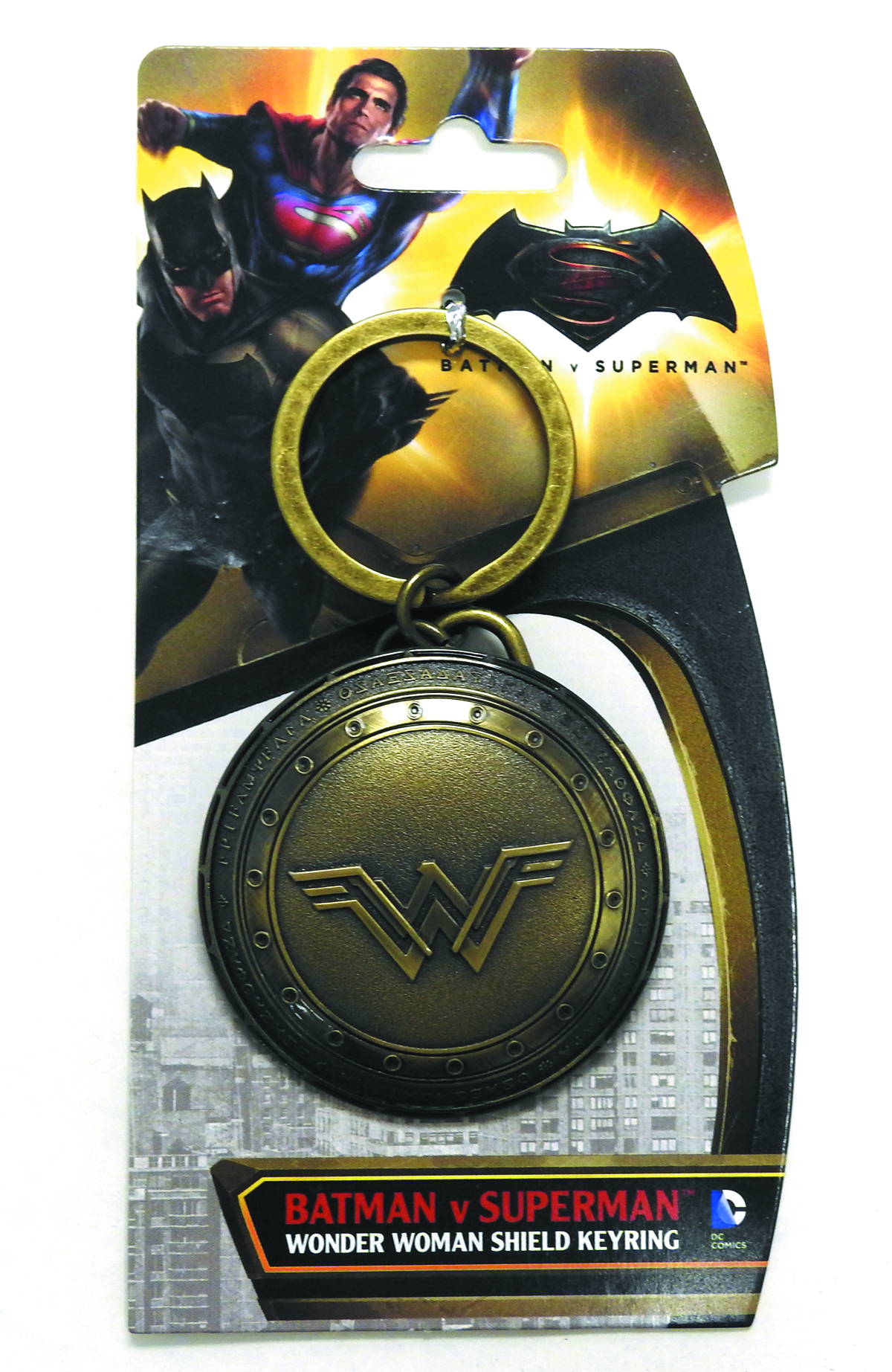 BVS WONDER WOMAN SHIELD BRASS PEWTER KEY RING