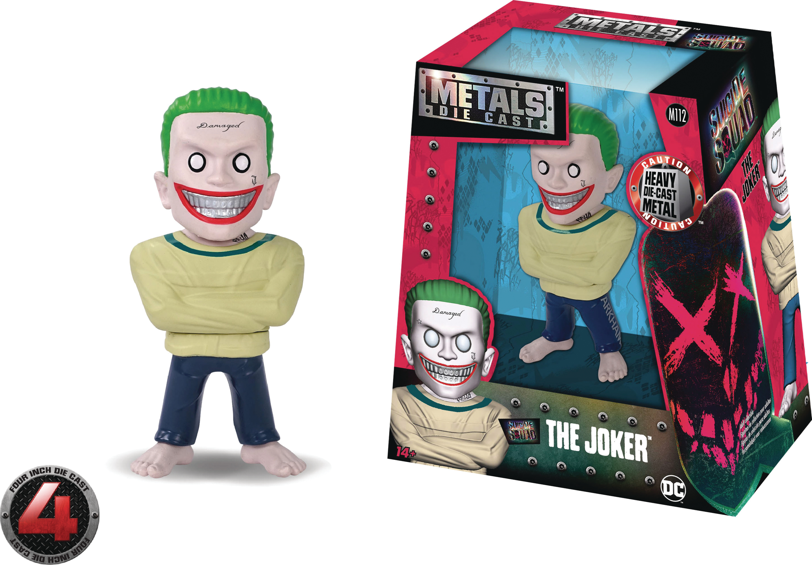 METALS SUICIDE SQUAD JOKER ARKHAM 4IN DIE-CAST FIG