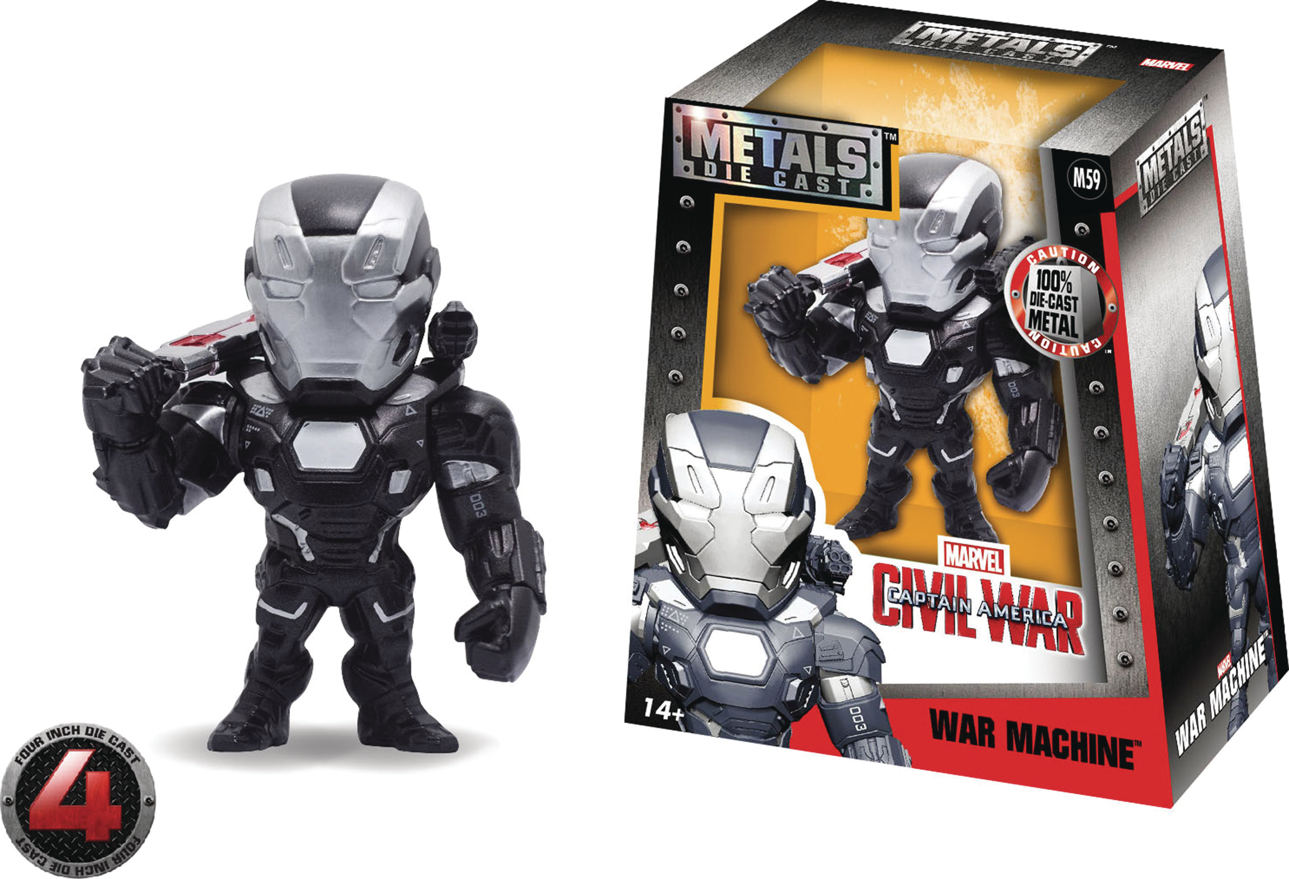 METALS MARVEL CIVIL WAR WAR MACHINE 4IN DIE-CAST FIG  (