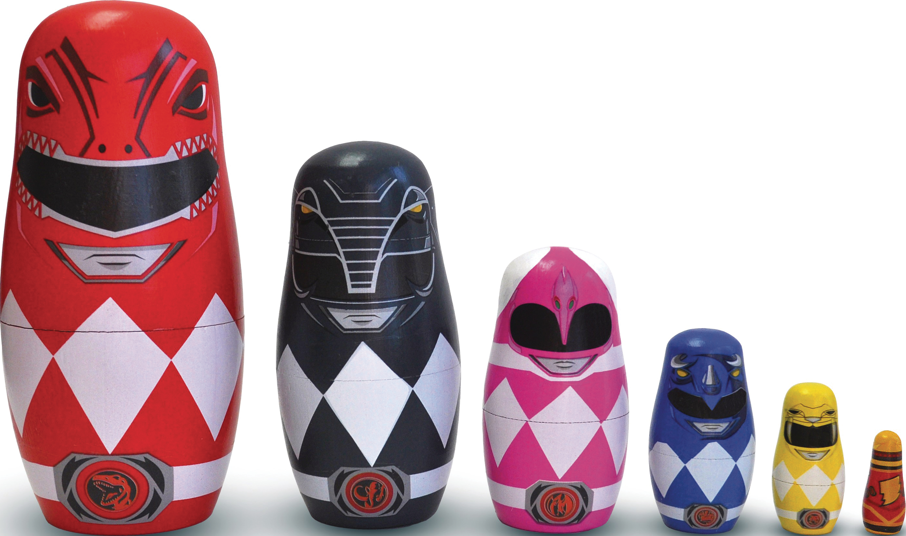 POWER RANGERS WOOD NESTING DOLL SET